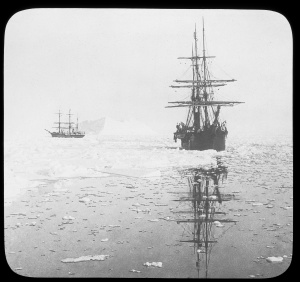 Keystone glass negative of explorer Robert E. Peary's ship Windward (right) and his expedition's relief ship Erik (left), 1901. Copyright © Kim Fairley and Silas Hibbard Ayer III.